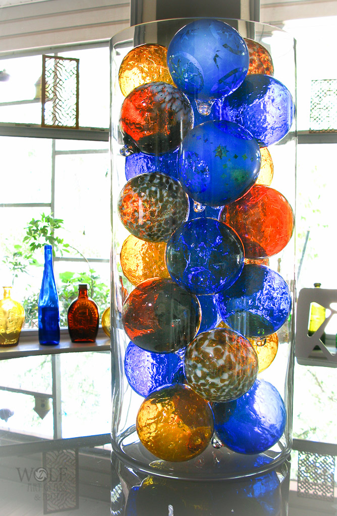 Amber Browns & Sapphire Blue Blown Glass Ball Decor