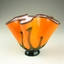 Bright Orange Blown Glass Flower Vase