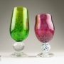 Lime and Fuchsia Wine Goblet Pair