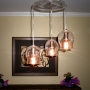 Clear Three Bell & Hat Chandelier  with Edison Bulb Lamp - Dining Room
