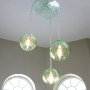 Eco Trio Chandelier, blown of recycled bottle glass