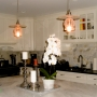 Clear Bell & Hat Pendants with Edison Bulb Lamps - Kitchen Island
