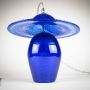 Sapphire Blue Art Glass Bell & Hat Pendant Lamp