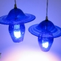 Sapphire Blue Art Glass Bell & Hat Pendant Lamps