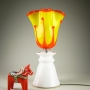 Blown Glass and Ceramic Table Lamp Bright Yellow and Orange Flame