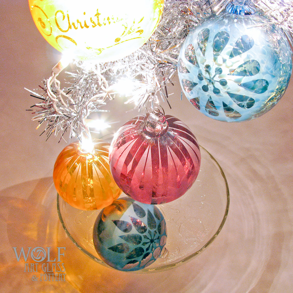 retro christmas etched ornaments - Blown Glass Christmas Ornaments