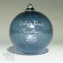 Babies First Christmas Blown Glass Ornament in Denim Blue
