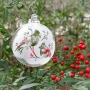 Cardinals Silhouette Etched Blown Glass Clear Ornament