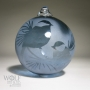 Chickadees in Pine Etched Denim Blue Glass Ornament