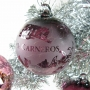 Company Logo Etched Aubergine Glass Ornament