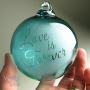 Teal Love is Forever Wedding Gift Personalized Glass Ornament