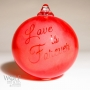 Love is Forever Wedding Gift Personalized Bright Red Glass Ornament