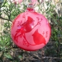 Cardinals Silhouette Etched Blown Glass Red Ornament