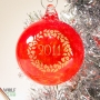 Wreath and Year Blown Glass Tree Ornament