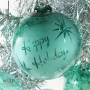 Teal Blue Green Retro Happy Holidays Star Reverse Etch