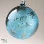 Denim Blue Retro Happy Holidays Star Reverse Etch