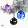 Purple Black Blue - Stars Retro Silver Etch Blown Ornament