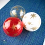 Red White Recycled Bottle - Stars Retro Gold Etch Blown Ornament