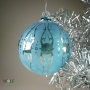 Tribal Blue Etched Ornament