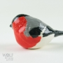 Eurasian Bullfinch Pottery Bird Sculpture by Carrie Wolf