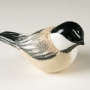 Black-capped Chickadee Pottery Bird Sculpture by Carrie Wolf