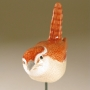 Carolina Wren Pottery Bird Sculpture by Carrie Wolf