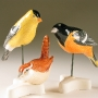 American Goldfinch, Carolina Wren, & Baltimore Oriole Pottery Bird Sculptures by Carrie Wolf