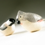 Tufted Titmouse & Black-capped Chickadee Pottery Bird Sculptures by Carrie Wolf