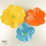 Yellow, Orange, & Turquoise Blue Poppy Ceramic Wall Art Trio