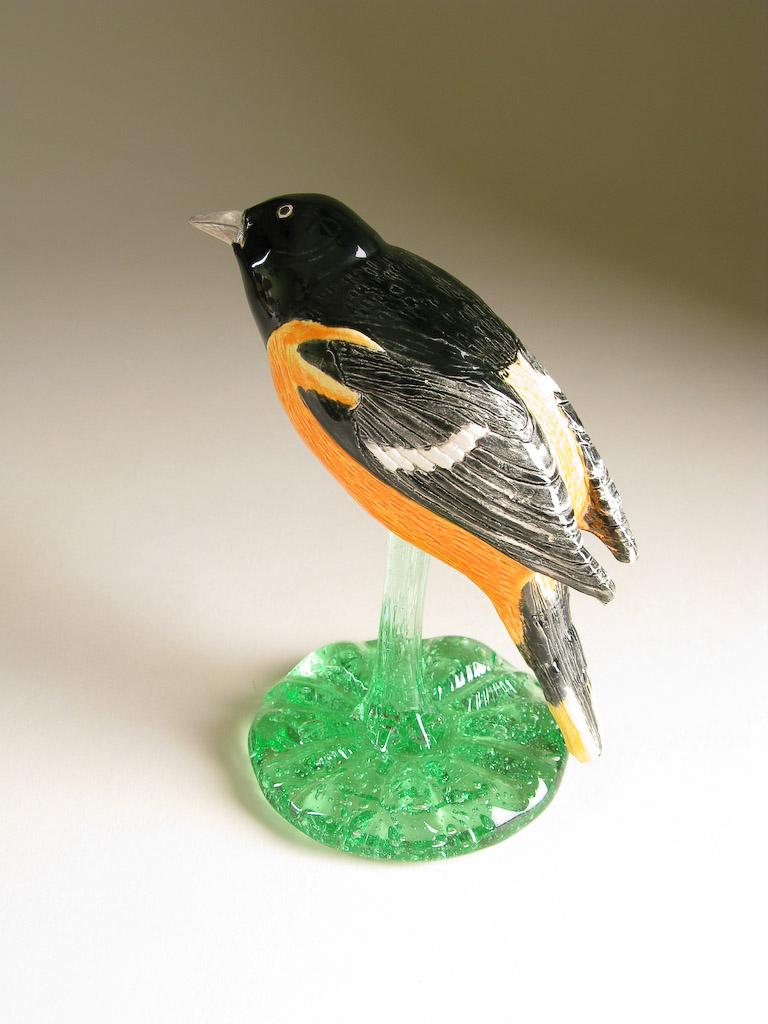 wolfartglass carrie wolf pottery clay bird sculpture baltimore oriole 5259