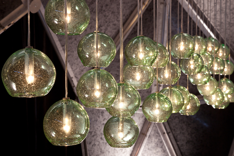 Press mentions and photos of wolf art glass in austin at blown art blown recycled glass eco globe pendants at diffas dining by design mozeypictures Images
