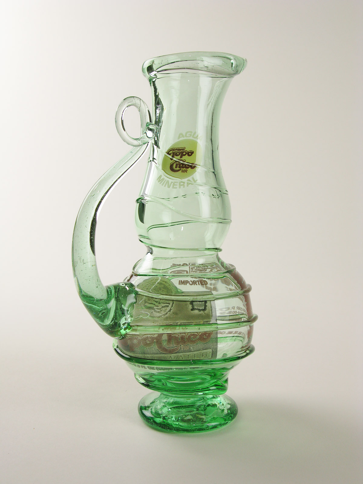 Blown recycled glass bottle art at blown art glass recycled blown recycled glass art pitcher sculpture reviewsmspy
