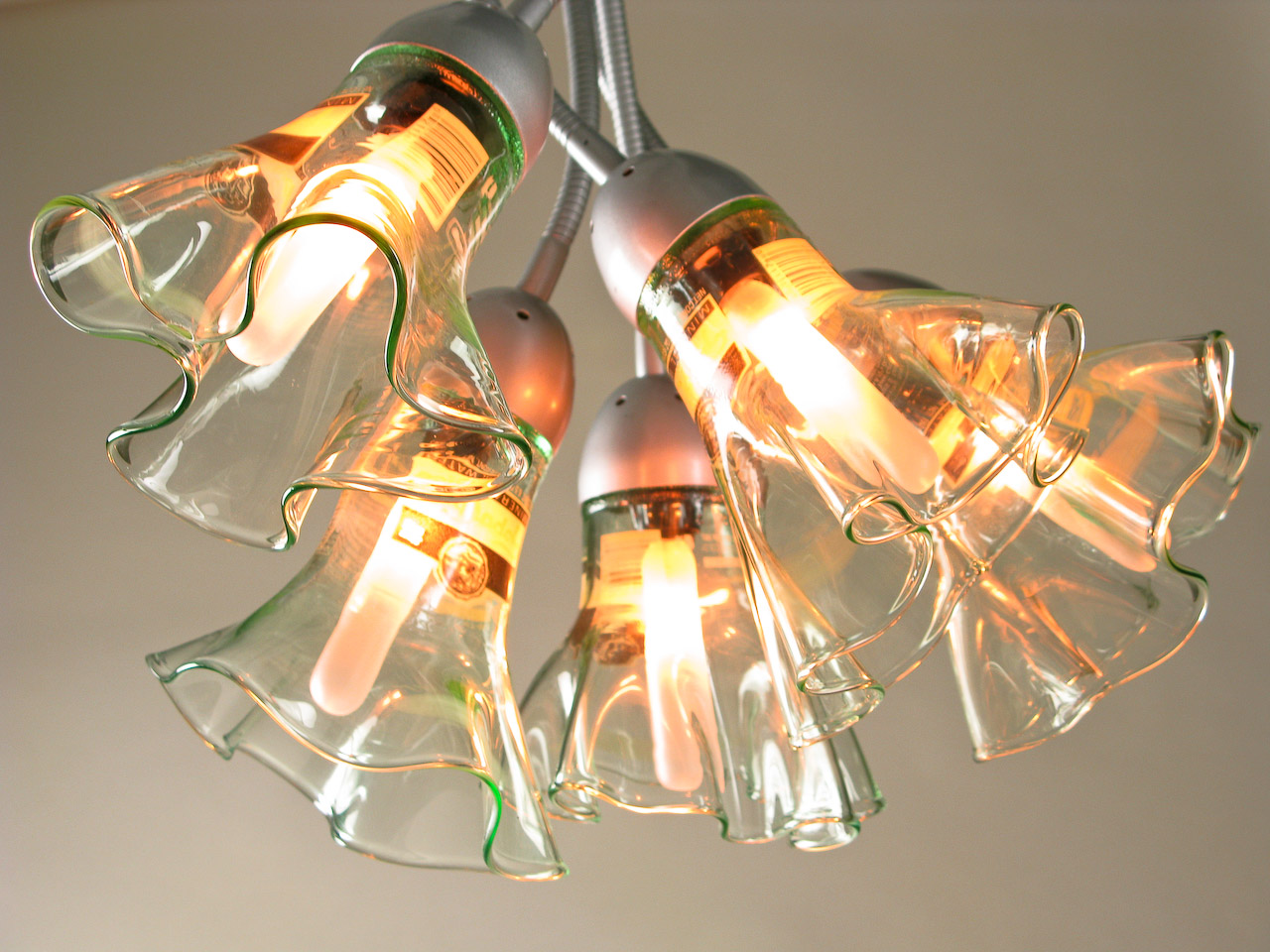 Recycled bottle blown glass chandelier home decor with an edge p - Glass bottle chandelier ...