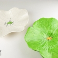 Lime Green and White Speckle Ceramic Poppy Wall Art