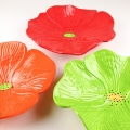 Bright Red, Bright Orange & Lime Green Ceramic Poppy Wall Art