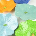 Saffron Orange, Soft Turquoise, Seafoam Green, Lime Green and Dark Blue Ceramic Poppy Wall Art