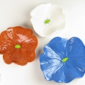 Caramel Brown, White Speckle and Dark Blue Ceramic Poppy Wall Art Trio