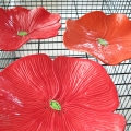 Bright Red Trio Ceramic Poppy Wall Art Trio