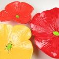 Tomato, Bright Red, Yellow Ceramic Poppy Wall Art