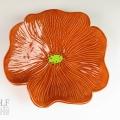 Caramel Brown Ceramic Poppy Wall Art