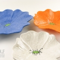 White Speckle, Dark Blue & Saffron Ceramic Poppy Wall Art Trio
