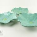 Seafoam Green Ceramic Poppy Wall Art Trio