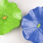 Lime Green and Dark Blue Ceramic Poppy Wall Art