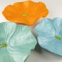 Soft Turquoise, Sea Foam Green, and Saffron Orange Ceramic Poppy Wall Art Trio