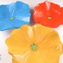 Orange French Blue Yellow Grouping of Ceramic Poppy Wall Art