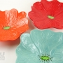 Bright Red, Orange and Seafoam Green Ceramic Poppy Wall Art Trio