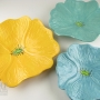 Soft Turquoise, Sea Foam Green, and Bright Yellow Ceramic Poppy Wall Art Trio