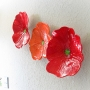 Red Poppy Ceramic Wall Art Trio
