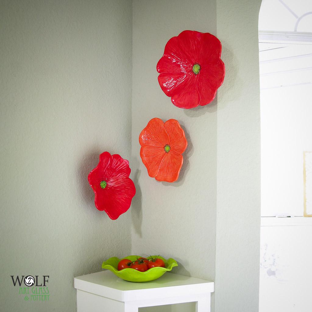 Ceramic Wall Flower Decor: Red Poppy Ceramic Wall Art Trio