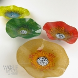 Caramel, Alligator Green, Bright Olive Green and Brick Red blown glass poppies
